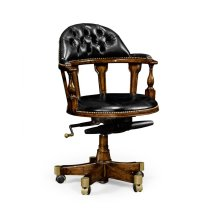 Captain's Style Walnut Office Chair, Upholstered in Black Leather