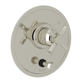 Polished Nickel Perrin & Rowe Holborn Pressure Balance Trim with Diverter with Cross Handle