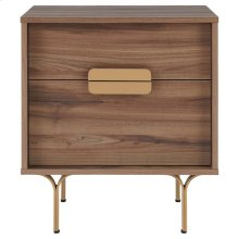 Avielle KD End Table Gold Legs, Walnut