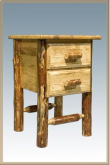 Glacier Country Log Nightstand with 2 Drawers