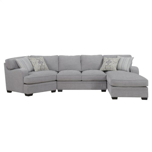 3pc Rsf Chaise-armless Love-lsf Corner Chair W/4 Accent Pillows-lt Gray#zy50474d-3