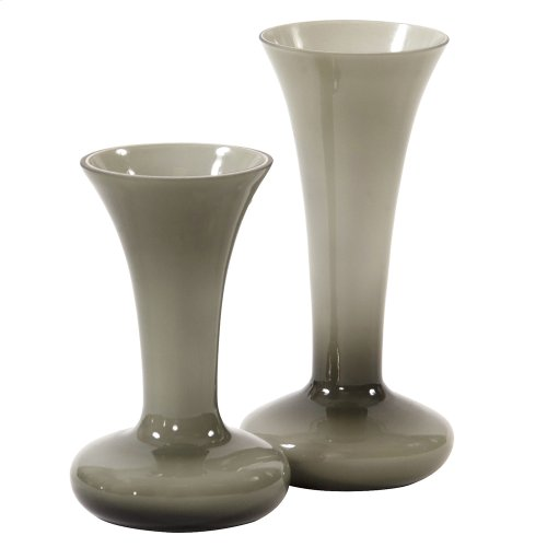Opaque Sage Gray Flared Glass Vase - Small