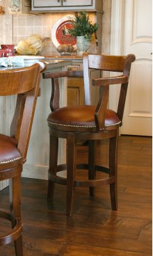 "Avalon Swivel Barstool, Specify Height 17""-31"", Fabric Seat"
