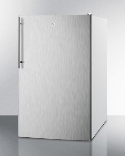 "Commercially Listed ADA Compliant 20"" Wide Freestanding Refrigerator-freezer With A Lock, Stainless Steel Door, Thin Handle and White Cabinet"