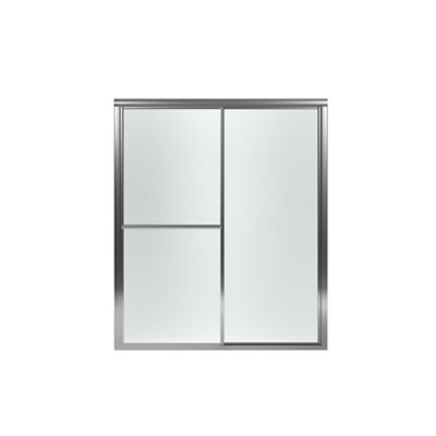 """Deluxe Framed Sliding Shower Door - Height 69-15/16"""", Max. Opening 59-3/8"""" - Silver with Rain Glass Texture"""