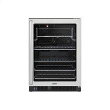 """Stainless Steel 24"""" Glass Door Beverage Centers - DUAR (Right Hinge Clear Door, Black interior)"""