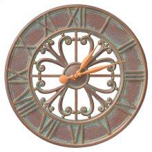 """Villanova 21"""" Indoor Outdoor Wall Clock - Copper Vedigris"""