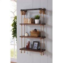"""Armen Living 24"""" Brannon Modern Walnut Wood Floating Wall Shelf in Silver Finish"""