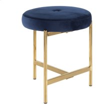 Chloe Vanity Stool - Gold Metal, Blue Velvet