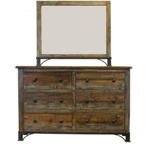 "Dresser : 61"" x 18"" x 40"" Urban Rustic Dresser and Mirror"