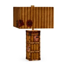 Striped Travel Trunk Style Table Lamp
