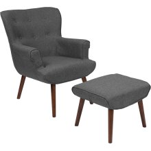 Bayton Upholstered Wingback Chair with Ottoman in Dark Gray Fabric