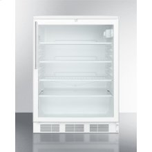 Commercially Listed Freestanding Glass Door All-refrigerator With White Cabinet, Stainless Steel Handle, and Lock