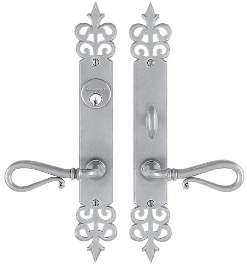 """Entrance Lever Set for interior or exterior door - Complete single cylinder set for 2 1/4"""" door"""