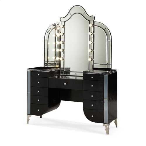 Upholstered Vanity & Mirror