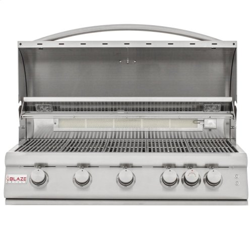 Blaze 40 Inch 5-Burner LTE Gas Grill with Rear Burner and Built-in Lighting System, With Fuel Type - Natural Gas