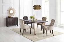 Gramercy Dark Chevron Dining Table With 4 Pierce Chairs - Charcoal
