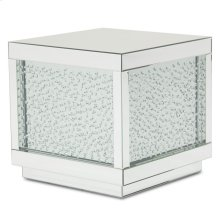 Silver Mirrored End Table W/crystals