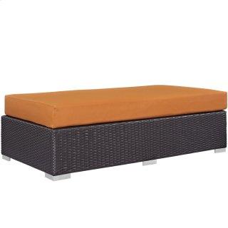 Convene Outdoor Patio Fabric Rectangle Ottoman in Espresso Orange