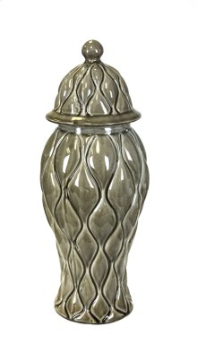 Decorative Ceramic Covered Jar, Brown