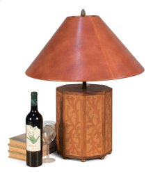 Hexagonal Leather Lamp W/Leather Shade