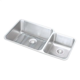 """Elkay Lustertone Classic Stainless Steel 35-1/4"""" x 20-1/2"""" x 9-7/8"""", Offset 60/40 Double Bowl Undermount Sink Kit"""