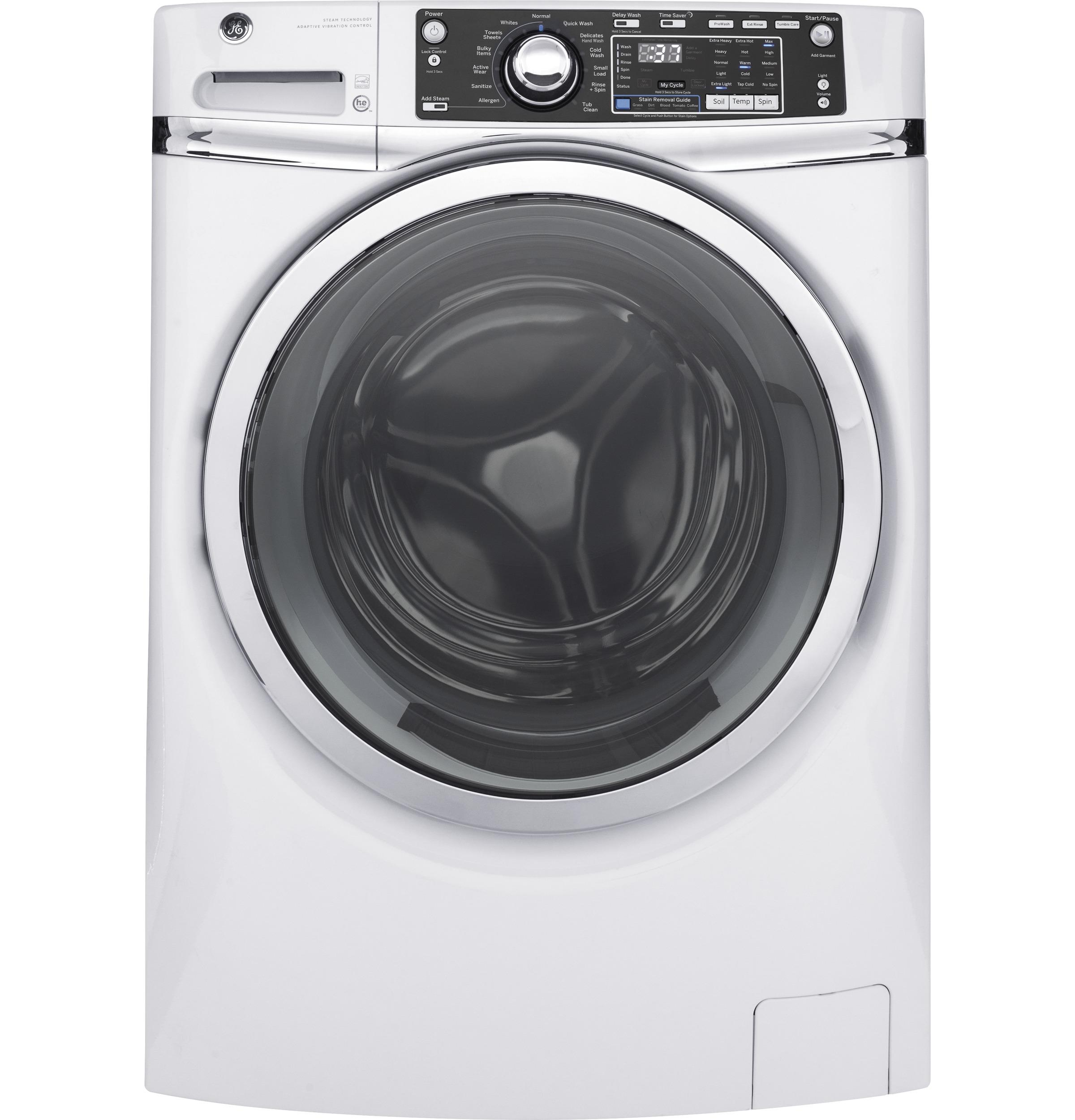 GE(R) 4.9 DOE cu. ft. Capacity Front Load ENERGY STAR(R) Washer with Steam  WHITE