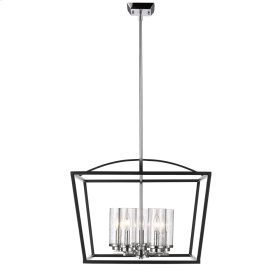 Mercer 5 Light Chandelier in Black with Seeded Glass