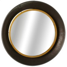 Gunmetal Bowl Wall Mirror with Gold Edge.