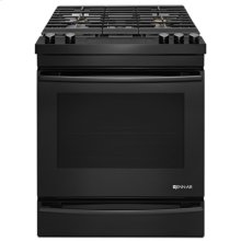 "Black Floating Glass 30"" Slide-In Gas Range"