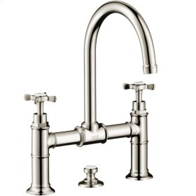 Polished Nickel 2-handle basin mixer 220 with cross handles and pop-up waste set