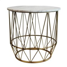 Gold Accent Table, White Marble Top