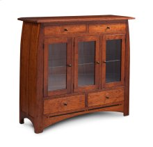 Aspen 3-Door Dining Cabinet with Inlay, Glass Doors, 2-Light System, Cherry #26 Michael's, 3 Doors with Beveled Glass Doors and Ends