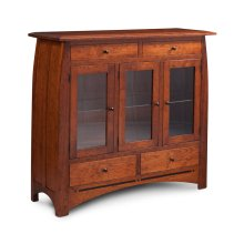 Aspen 3-Door Dining Cabinet with Inlay, 3 Doors with Beveled Glass Doors and Ends