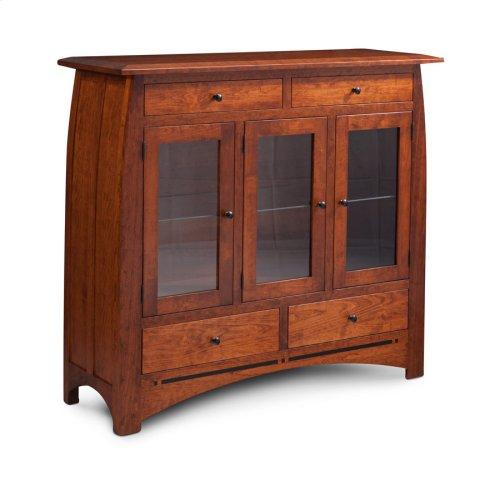Aspen 3-Door Dining Cabinet with Inlay, 3 Doors with Wood Doors and Ends