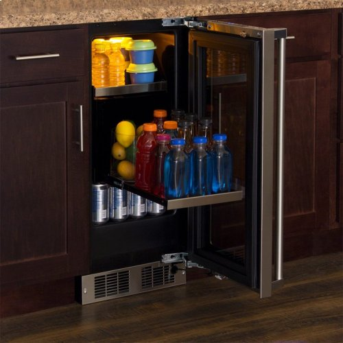 "Marvel Professional 15"" Beverage Center - Stainless Frame, Glass Door with Lock - Integrated Left Hinge, Professional Handle"