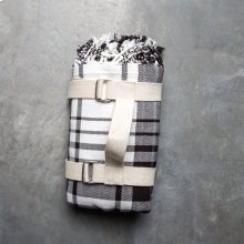 Picnic Throw with Carry Strap - Black Plaid