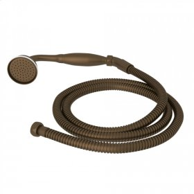 English Bronze Perrin & Rowe Inclined Handshower And Hose with Metal Handshower