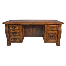 Old Wood Desk W/ Double Drawers