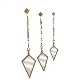 S/3 Metal Spear Point Mirrorson Chain, Gold
