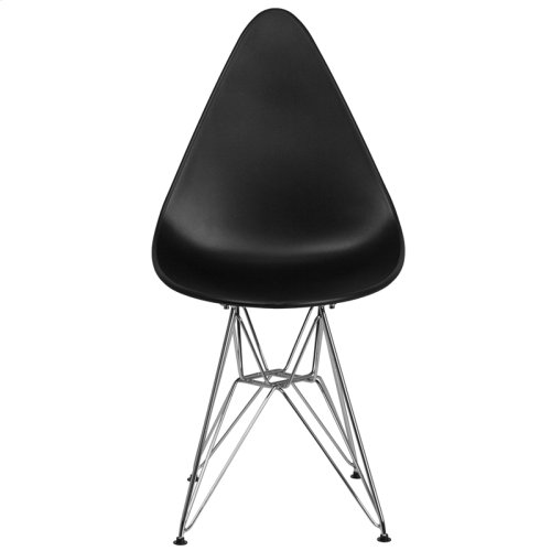 Allegra Series Teardrop Black Plastic Chair with Chrome Base