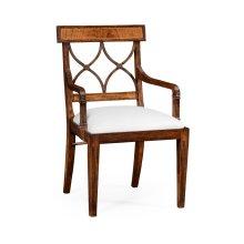 Regency Crotch Walnut Curved Back Armchair -COM