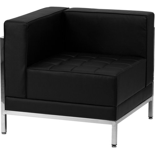 Zbimagleftcornergg In By Flash Furniture Houston Tx Hercules Imagination Series Contemporary Black Leather Left Corner Chair With Encasing Frame