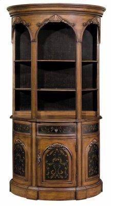 Tall Demilune Bookcase Black / Woodtone