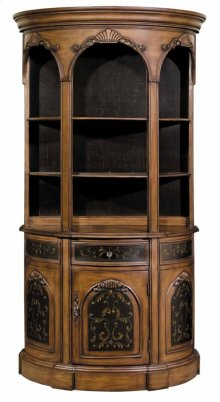 Tall Demilune Bookcase Black / Woodtone