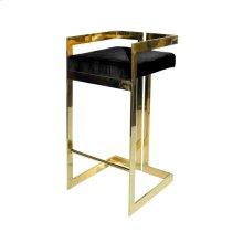 Linear Bar Stool With Brass Base and Black Velvet Cushion