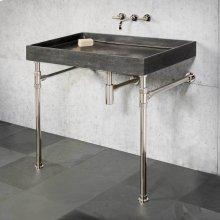 Ventus Bath Sink & Console Antique Gray Limestone / 24in / Polished Nickel