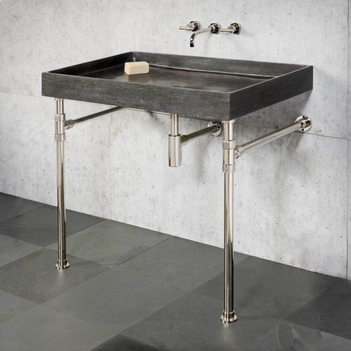 Ventus Bath Sink & Console Antique Gray Limestone / 24in / Polished Nickel