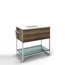 "Adorn 36-1/4"" X 34-3/4"" X 21"" Vanity In Smooth-leaved Elm With Push-to-open Plumbing Drawer, Towel Bar On Left and Right Side, Legs In Brushed Aluminum and 37"" Stone Vanity Top In Quartz White With Integrated Center Mount Sink and 8"" Widespread Faucet Holes"