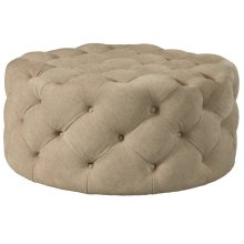 Round Button Tufted Cocktail Ottoman with Casters in Dudley Burlap